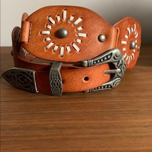Western Style Leather Belt with Silver Hardware